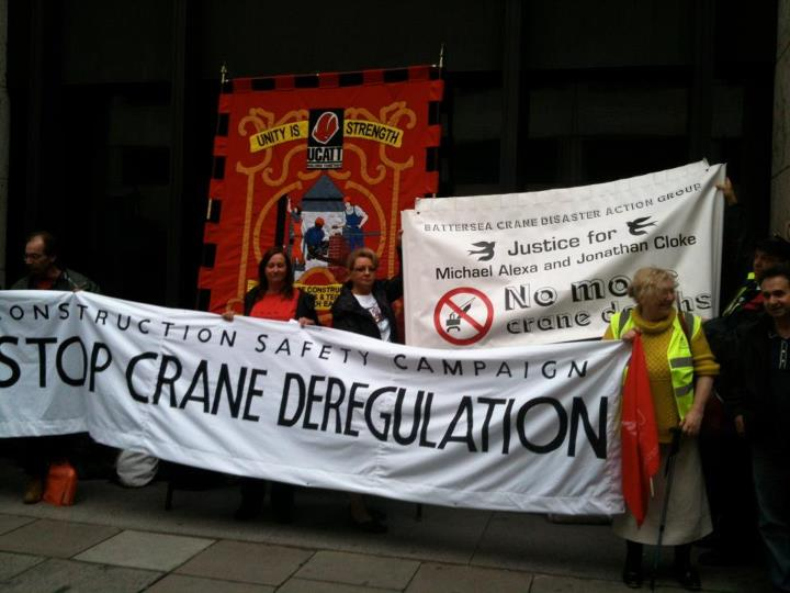 Stop Crane Deregulation Protest outside Department of Work & Pensions 3rd July 2012