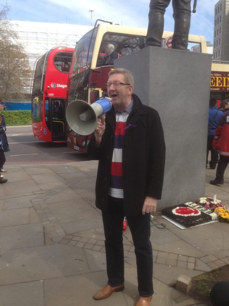 Len McCluskey at the Building Worker statue 28th April 2013