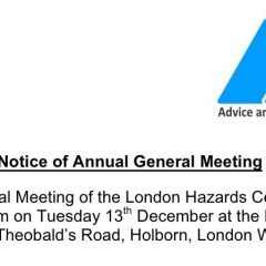 Advance notice London Hazards AGM