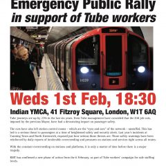 Staff Our Stations Emergency Public Rally In support of Tube workers